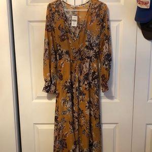 Mustard Floral Chiffon Maxi Dress